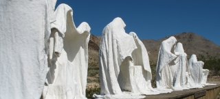 Unique outdoor sculpture in Rhyolite Township, Nevada
